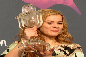"Emmelie de Forest with the winner's trophy after winning the Eurovision Song Contest with her song ""Only Teardrops""."